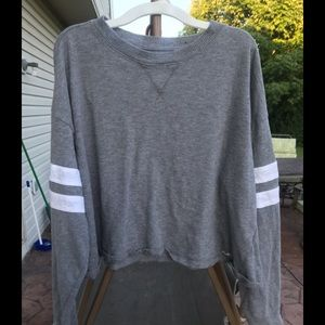 Hollister gray cropped varsity shirt